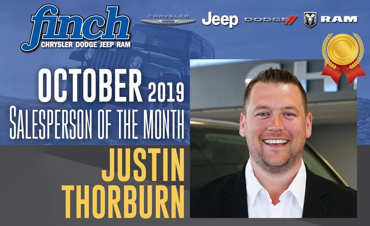 Salesperson Of The Month for October 2019 - Justin Thorburn