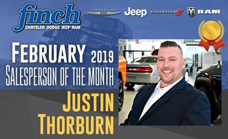 Salesperson Of The Month for February 2019 - Justin Thorburn