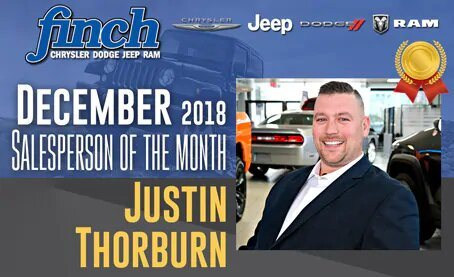 Salesperson Of The Month for December 2018 - Justin Thorburn