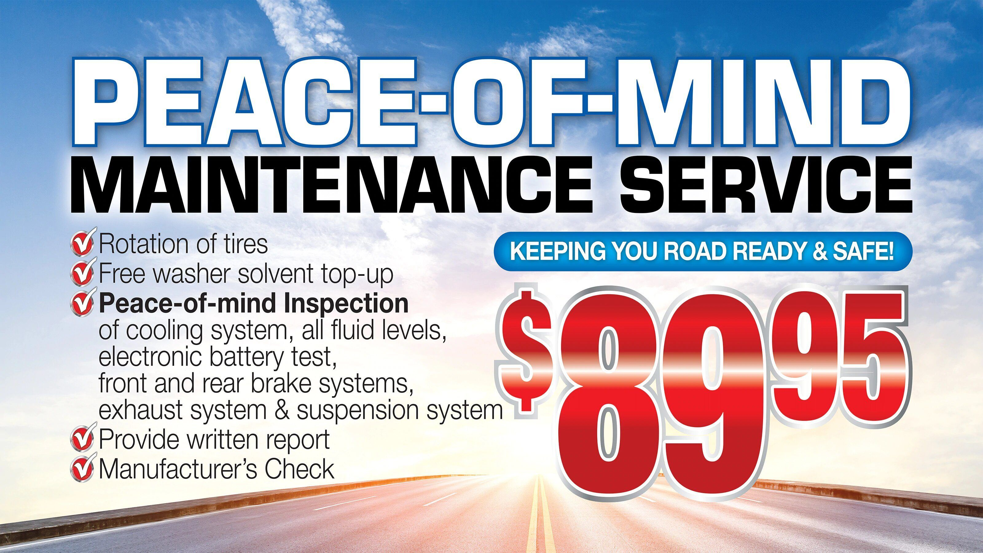Peace of mind service specials for $89.95