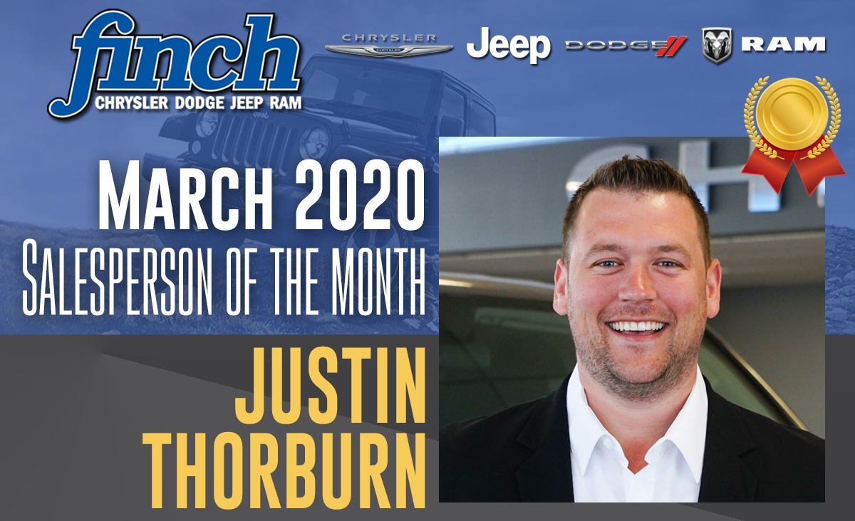 Salesperson Of The Month for March 2020 - Justin Thorburn
