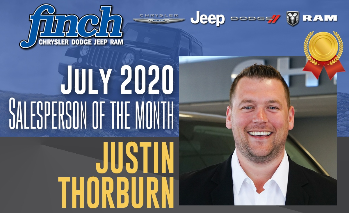 July 2020 Salesperson Of The Month - Justin Thorburn